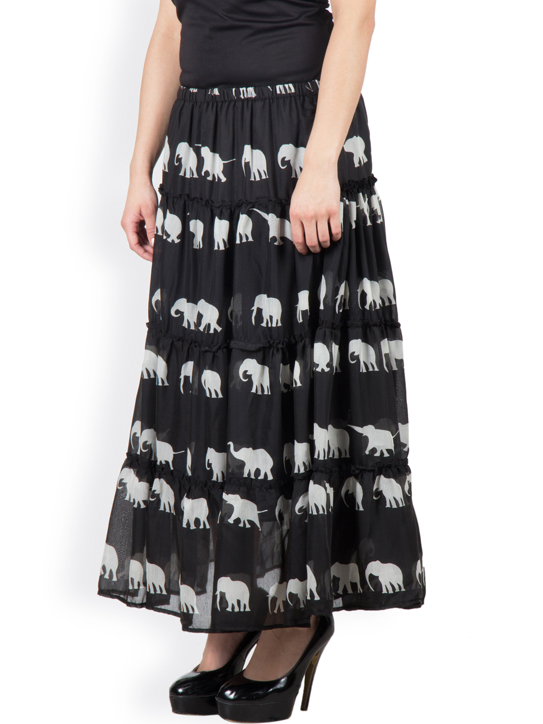 8c48eaf9f0 Roll over image to zoom in. special elephant print cotton layered skirt  with lining and elasticated waist