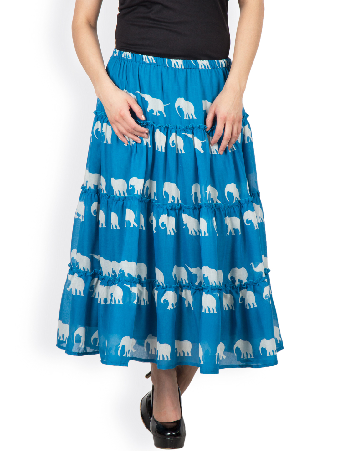 287e39e834 special elephant print cotton layered skirt with lining and elasticated  waist