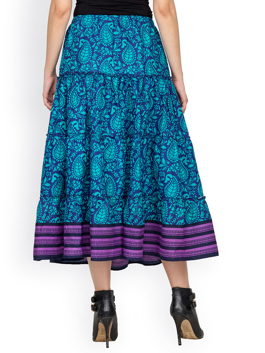 bcef69217f Roll over image to zoom in. Printed cotton Layer Cut skirt With Elasticated  Waist. Ratings ...